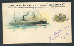 """C1903 LITHO PC PACIFIC LINE RM STEAMER """"OROPESA"""" -- ANDREW REID LITHO PC - Steamers"""