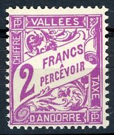 Andorre / Andorra Timbres Taxe 1938 - 1941 N° 19 2 Fr Violet Neuf Sans Charnière. Cote 25€ - Postage Due