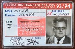 Fédération Française De Rugby. 1993-94. Licence De Roger Oger Membre De ASPTT Paris Rugby. - Sport