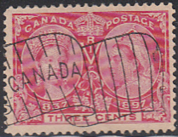 Canada 1897 Used Sc 53 3c Victoria Jubilee Flag Cancel - Oblitérés
