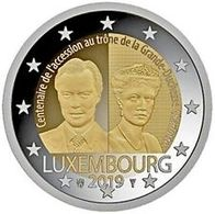 """Pièce Commémorative 2 Euros Luxembourg 2019 """"  Accession Au Trône  De La Grande Duchesse Charlotte """" - Luxemburg"""