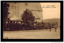 Han-sur-Lesse - Tram Conduisant à La Grotte - Carte Voyagée, Très Animée - M. Marcovici - 2 Scans - Rochefort