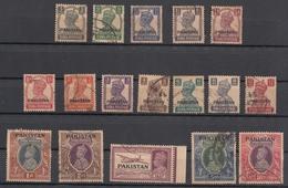 Pakistan1947  KG VI India  3P To 10 Rs Overprinted  17v Used Noticed Peshawar Prints   # 77378 S Inde Indien - Pakistan