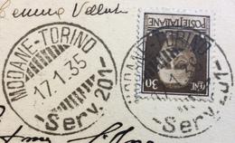 AMBULANTE MODANE - TORINO - SERV.201 -  15/1/35 SU CARTOLINA SUSA PANORAMA - 1900-44 Vittorio Emanuele III