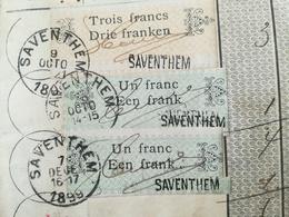 VIEUX LIVRET ÉPARGNE CGER ANNÉE 1899 SAVENTHEM COMPLÉTÉ AVEC TIMBRES SUR 4 PAGES  VIEUX PAPIERS - Documents Historiques