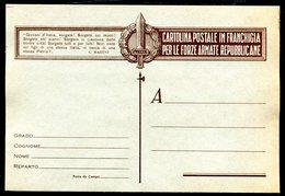 Z1541 ITALIA RSI Franchigia Militare 1944 Cartolina Postale Per Le Forze Armate Repubblicane, Fil. F88-2, Non Viaggiata, - 4. 1944-45 Repubblica Sociale
