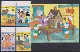 2536  Walt Disney   Lesotho  ( Christmas 1986 )   .Stamps + Block - Guyana (1966-...)