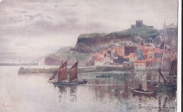 AO80 East Cliff From West Pier, Whitby - Artist Signed Postcard, Local Publisher - Whitby