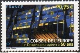 France - Timbre De Service N° 163 ** Conseil De L'Europe - Le Drapeau à 60 Ans - Service