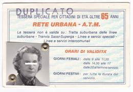 TESSERA SPECIALE - TT ATM TORINO - DUPLICATO - - Abonnements Hebdomadaires & Mensuels