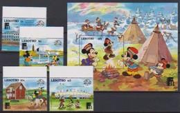 2540  Walt Disney   Lesotho  ( Sixty Years Mickey )  Stamps + Block . - Guyane (1966-...)