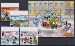 2541  Walt Disney   Lesotho  ( Sixty Years Mickey )  Stamps + Block . - Guyane (1966-...)