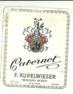 "4581 ""CABERNET-F. KUPELWIESER-BOLZANO-BOZEN ""- ETICHETTA ORIGINALE - Vino Rosso"