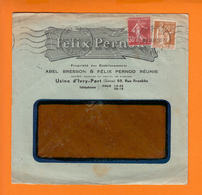 """Lettre Entete PUB  """" Felix PERNOD """" De IVRY CENTRE  Le 9 XII 1938  PAIX 60c Bistre + Semeuse  30c Brun Rge - Advertising"""