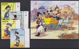 2542   Walt Disney   Lesotho  ( Philexfrance 1789 / 1989 )  Stamps + Block . - Guyane (1966-...)