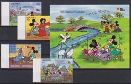 2545  Walt Disney   Lesotho  (  Phila Nippon 1991 )  Stamps + Block . - Guyane (1966-...)