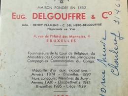 EUG. DELGOUFFRE & C° NÉGOCIANT VIN FOURNISSEUR DE LA COUR DE BELGIQUE ET DES COMPAGNIES COMMERCIALES DU CONGO BELGE - Alimentaire