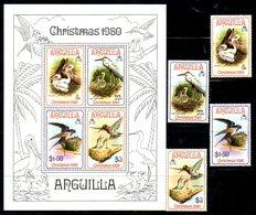 ANGUILLA, 1980, BIRDS,CHRISTMAS, 4v.+S/S, MNH** - Birds