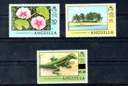 ANGUILLA, 1978, LIZARD, FLOWERS 3v. O/P,MNH** - Reptiles & Amphibians