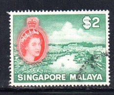 APR1719 - SINGAPORE 1955 , 2 Doll Yvert N. 41  Usato  (2380A) . - Singapore (...-1959)