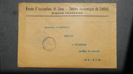 Lettre Armée D'Occupation 4e Zone Mission Française De Créfeld ( Krefeld ) 1919 En Franchise - Poststempel (Briefe)