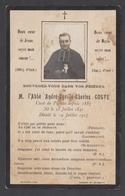 Ancienne Image Pieuse Mortuaire Décès 1917 Abbé COSTE Curé De Pignan (34 Hérault) Avec Photo - Images Religieuses