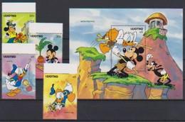 2546  Walt Disney   Lesotho   Stamps + Block . - Guyane (1966-...)