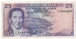 Iceland 25 Kronor 29/03/1961 .J. - Islanda