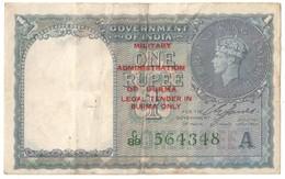 Burma Military Administration 1 Rupee 1940-1945 .J. - Myanmar