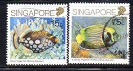 APR1568 - SINGAPORE 1989 , Due Valori  Yvert N. 559+560  Usati  (2380A) . Pesci - Singapore (1959-...)