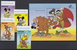 2548  Walt Disney   Lesotho ( Spanish Costumes )  Stamps + Block . - Guyane (1966-...)