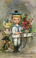 Cp-Bonne Fête Maman - Enfant, Chien (carte écrite) - Fête Des Mères