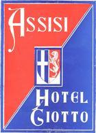 ETIQUETA DE HOTEL  - HOTEL GIOTTO  -ASSISI  .-ITALIA - Etiquetas De Hotel
