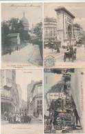 4 CPA:TOUT PARIS (75) CAFÉ PASSAGE LIGNER,INCIDENT OMNIBUS FILLE DU CALVAIRE RUE DE TURBIGO,RUE DE LA BONNE MONTMARTRE - France