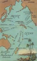 Hawaii Islands On Map Of Pacific Ocean,Distances To Samoa, Hong Kong, Yokohama, Manilla, C1900s/10s Vintage Postcard - Unclassified