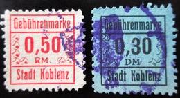 GEBÜHRENMARKE 0,30 & 0,50 RM . STADT KOBLENZ - Deutschland