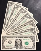 Usa 1 $ A 1988a - 93 + B 88a 95 99 06 + C 03 + E 99 03 03a + F 85 03 Lotto.2645 - Billetes De Estados Unidos (1928-1953)
