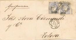 33378. Envuelta SAN SEBASTIAN 1870. DOBLE Porte. Rueda Carreta Num 41. Alegoria - Cartas