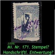 EARLY OTTOMAN SPECIALIZED FOR SPECIALIST, SEE...Mi. Nr. 771 -Handschriftliche Entwertung ? Zensurstpl.? !! -R- - 1921-... República