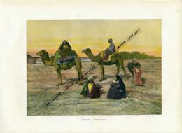 Document (1880) : Turkestan, Tekés, Tekkés En Route, Chameau, Photographie Aquarellée (Aquarelle), Souvenir De Voyage - Postcards
