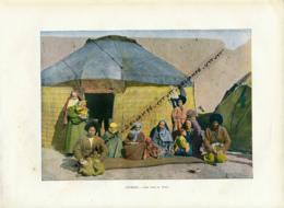 Document (1880) : Turkestan, Une Tente De Tekés, Tekkés, Photographie Aquarellée (Aquarelle), Souvenir De Voyage - Postcards