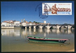 FRANCE (2009). Carte Maximum Card - Mâcon - Saône-et-Loire / Bridge, Pont Saint Laurent, Lamartine - Cartas Máxima