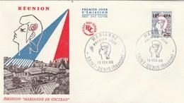 REUNION FDC Yvert  349A Marianne De Cocteau - St Denis 13/2/1965 - Reunion Island (1852-1975)