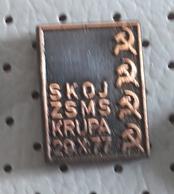 SKOJ ZSMS Krupa 1977 Communist Party Of Slovenia Yugoslavia Hammer Sickle Pin - Associations