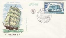 REUNION FDC Yvert  415 3 Mats France II - St Pierre 10/6/1973 - Bateau Voilier - Reunion Island (1852-1975)