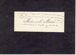 JUMET 1910 ANCIENNE CARTE DE VISITE - Mademoiselle MASURE - Directrice D'école à JUMET - Visitenkarten