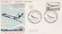 REUNION FDC Yvert  PA 61 Mystère 20 La Montagne 29/1/1967 - Avion - Airmail