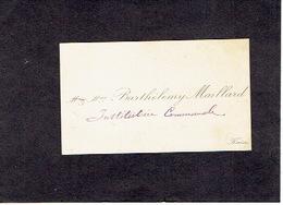 KAIN 1910 ANCIENNE CARTE DE VISITE - Mme BARTHELEMY MAILLARD - Institutrice Communale - Visitenkarten
