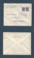 E-PROVINCIAS. 1926 (16 Dic) 316º (x2) MURCIA - Alemania, Hamburgo (21 Dic) Sobre Franqueado Mat Rodillo. Bonito. - Espagne