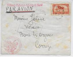 """MAROC - 1931 - ENV. Par AVION Du REG INFANTERIE COLO à RABAT Avec """"AFFR INSUFFISANT VOIE AERIENNE"""" (FM OUBLIE)=> CORREZE - Morocco (1891-1956)"""